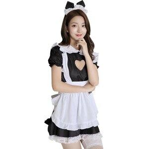 Image 3 - バストオープンメイド衣装セクシーなコスプレキティ衣装綿エプロンレース誘惑ミニドレス女性のためのアニメ黒、白ロリータ