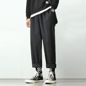Мужские шаровары для бега, мужские черные хлопковые комфортные брюки, Летние повседневные уличные свободные брюки, японские трендовые спор...
