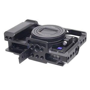 Image 1 - אלומיניום סגסוגת מצלמה כלוב מגן מקרה עבור Sony RX100 M7 VII 7 שחרור מהיר צלחת מייצב מתאם w/ 1/4 חוט חורים