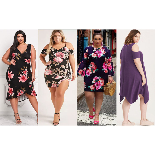 Summer Women Plus Size Floral Dress 3XL 4XL Flower Printed V Neck