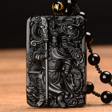 New Style Obsidian Buddha Necklace For Men Women Fiscal  Guan Yun Dragon Jade Pendant Jewelry Fine