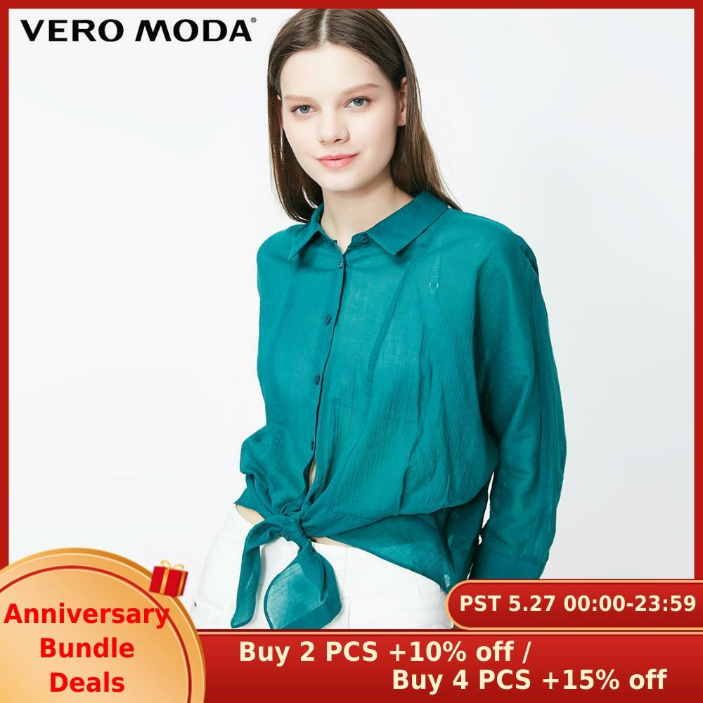 Vero Moda Women's 100% Cotton 3/4 Sleeves Turn-down Collar Shirt | 319231525