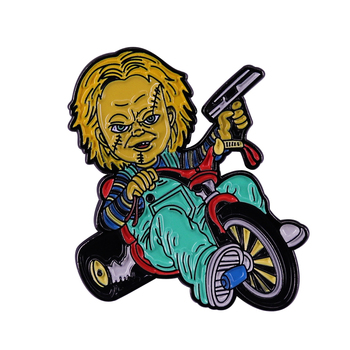 Chucky Doll Big Wheel Cult Badge horror movie themed Brooch Gguy dull killer Enamel Pin Accessory image