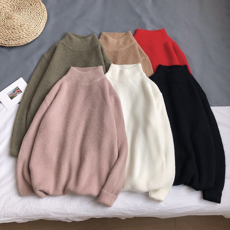 Men's Sweater Autumn And Winter 2019 New Slimming Pure Color Knit Versatile Simple Sweater Loose Casual Young Men's Wear