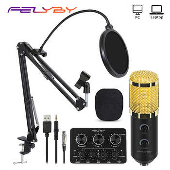 Felyby bm 900 microfone condensador profissional karaoke studio microfone para gravação de computador portátil/computador, transmissão (cabo usb + 3.5mm)