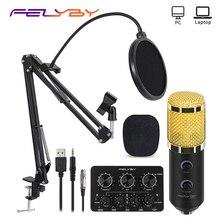 Microfone condensador felyby bm 900, microfone profissional de estúdio karaoke para laptop/pc, gravação, broadcast (cabo usb + 3.5mm)