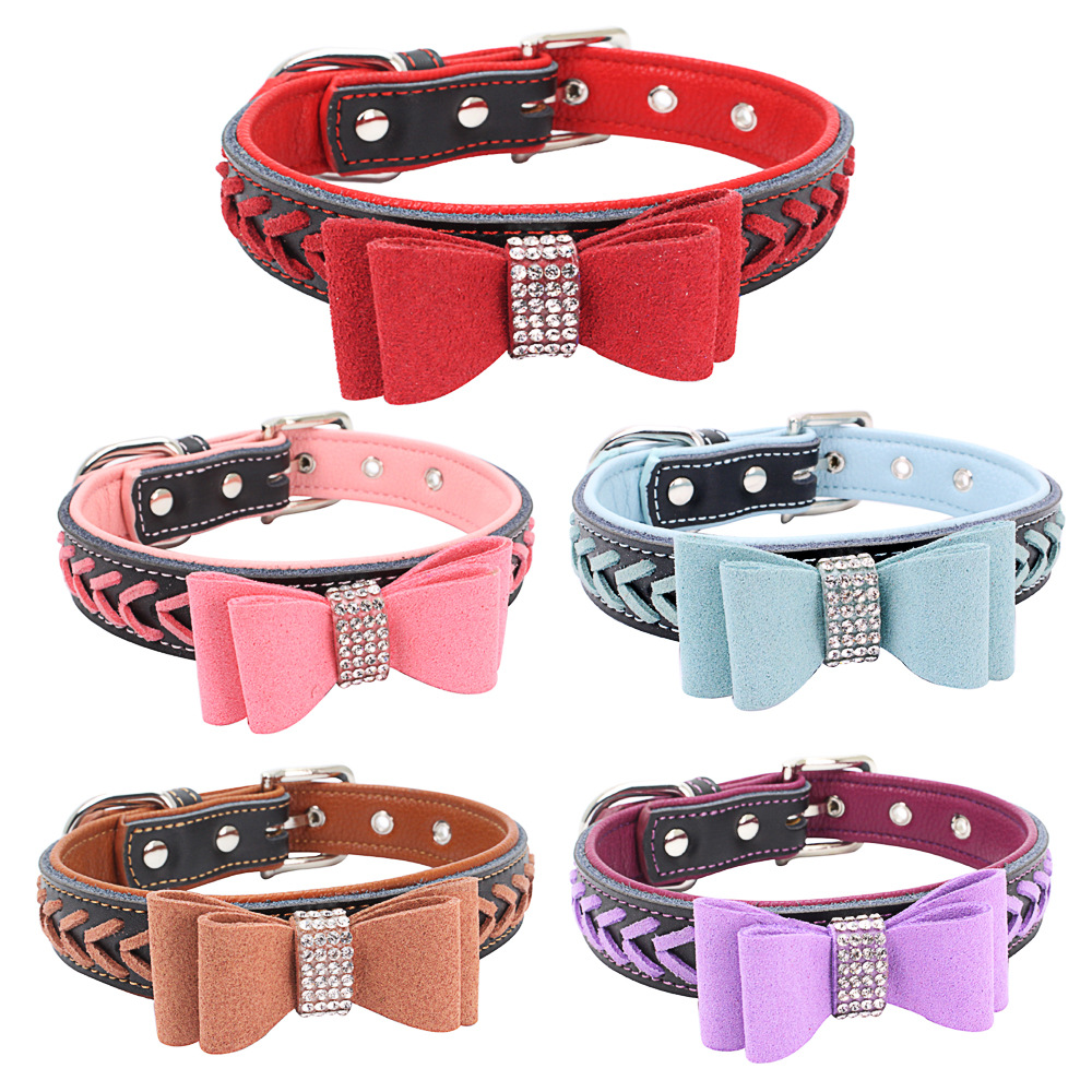 Berry New Style Hot Drilling Bow Pet Collar Contrast Color Genuine Leather Neck Ring Hand-woven Dog Chain Dog Bowtie