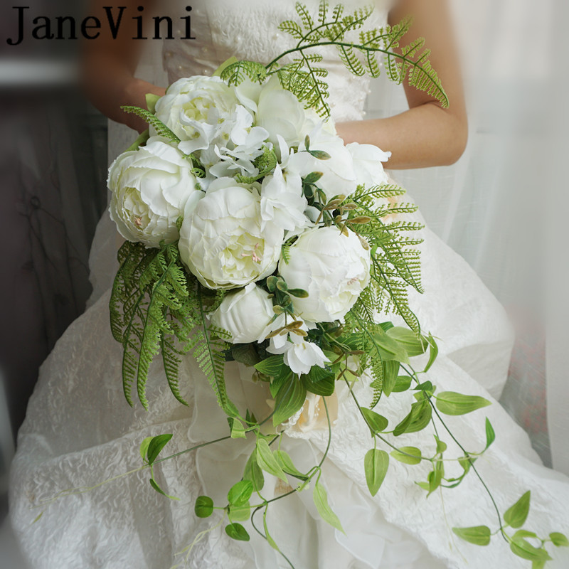 JaneVini Droplets Style Wedding Bouquets Artificial White Peonies Waterfall Bridal Bouquet Green Leaves Pearl Lace Bride Flowers