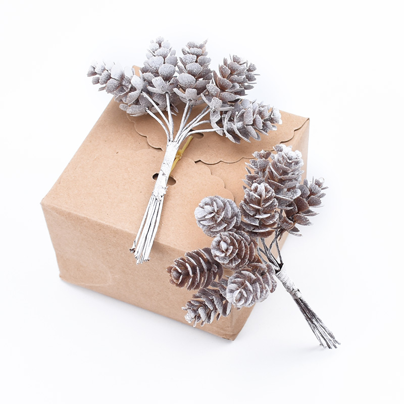 10pcs Artificial Pine Cone Fake Plants Diy Gifts Box Stamen Vases For Christmas Home Decor Wedding Bridal Accessories Clearance