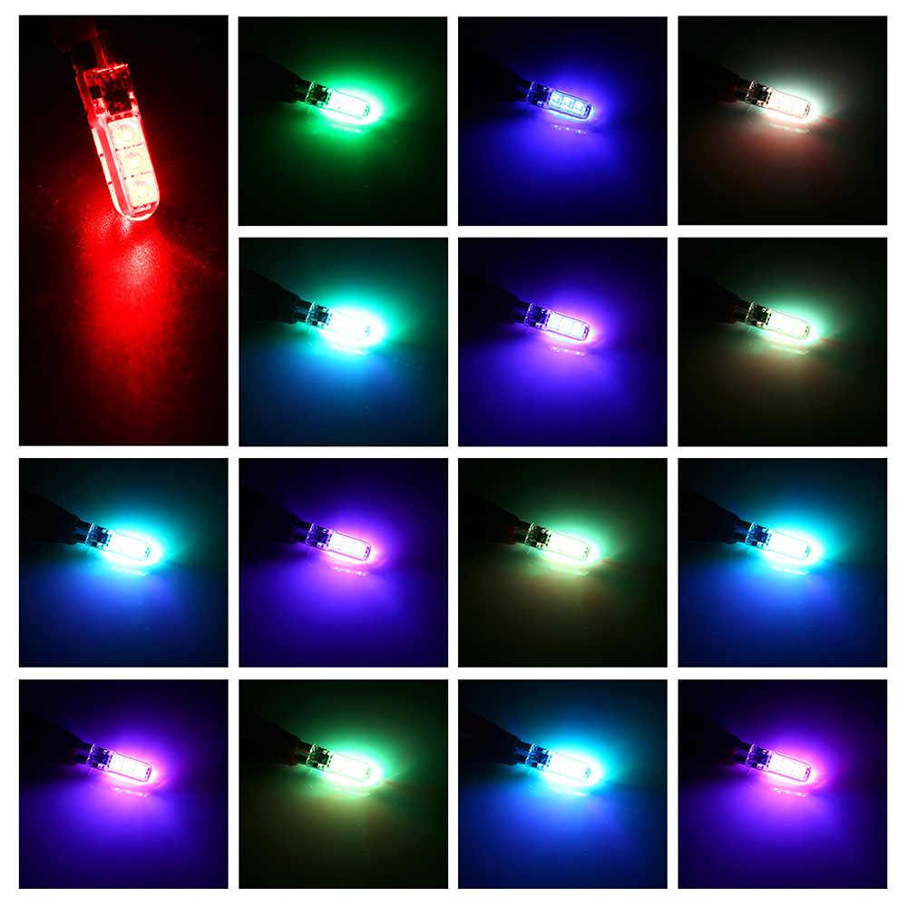 2 Buah T10 W5W Lampu Mobil LED Lampu LED RGB dengan Remote Kontrol 194 168 501 Lampu Strobo Led Membaca lampu Putih Merah Amber W5w