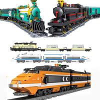 RC City Railway Building Blocks Compatible Legoed Technic Remote Control Station Rail Train Enlighten Bricks Toys For Children