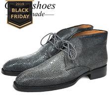 GOSTINSHOES/Роскошные мужские ботинки ручной работы Goodyear; модные рабочие ботинки ручной работы из кожи ската; безопасные ботильоны на шнуровке; SCF19