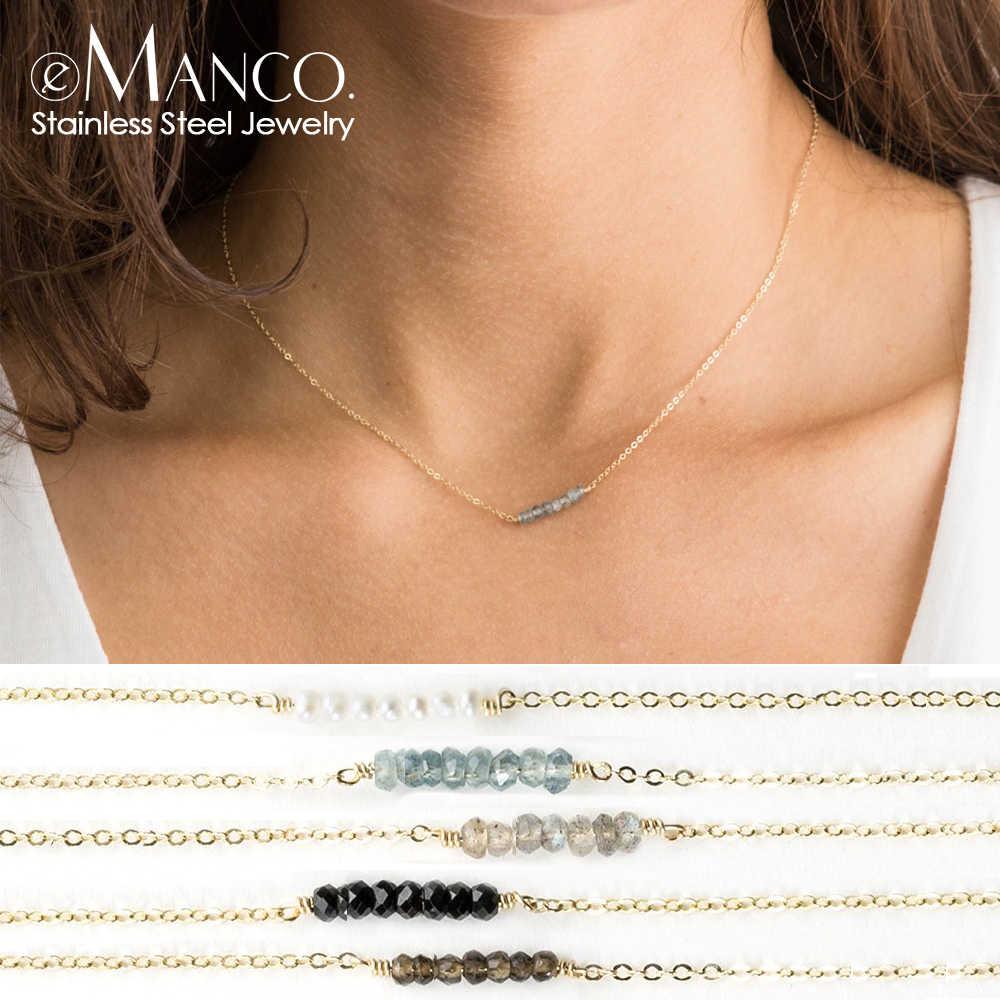 E-manco collier pendentif en cristal à la mode pour les femmes multi-couches en acier inoxydable colliers femmes bricolage chokers collier