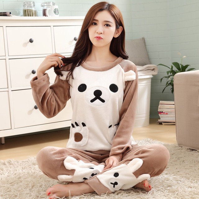Autumn And Winter Korean-style Cute Cartoon Bear Pullover Flannel Pajamas Female Winter Thick Coral Velvet Long Sleeve Homewear