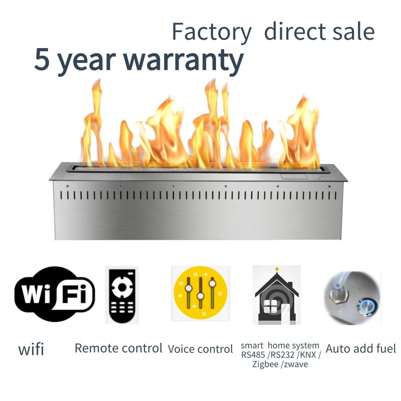 48 Inch Wifi Real Fire Intelligent Auto Smart Bio Ethanol Electric Fireplace Fire Pit