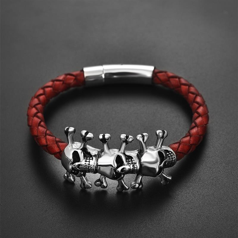 Gothic Skull Bracelet for Men Stainless Steel Clasps Red Braided Leather Bangle Punk Jewelry Cool Boy Wristband Accessories Gift