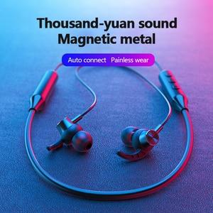 Image 4 - מגנטי אלחוטי Bluetooth 5.0 אוזניות Neckband סטריאו אוזניות דיבורית עמיד למים אוזניות עם מיקרופון Bluetooth אפרכסת