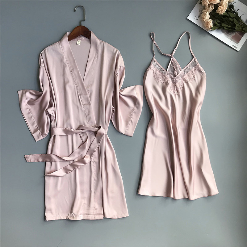 2019 Spring Summer Women Satin Robe & Gown Sets Sexy Lace Sleep Lounge Sleeveless Sil Nightwear Bathrobe+Night Dress Chest Pads