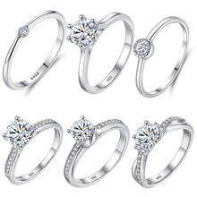 ELESHE 100% de Plata de Ley 925 anillos de dedo Pave de lujo Zirconia cúbica de compromiso anillos de boda para las mujeres, joyería fina