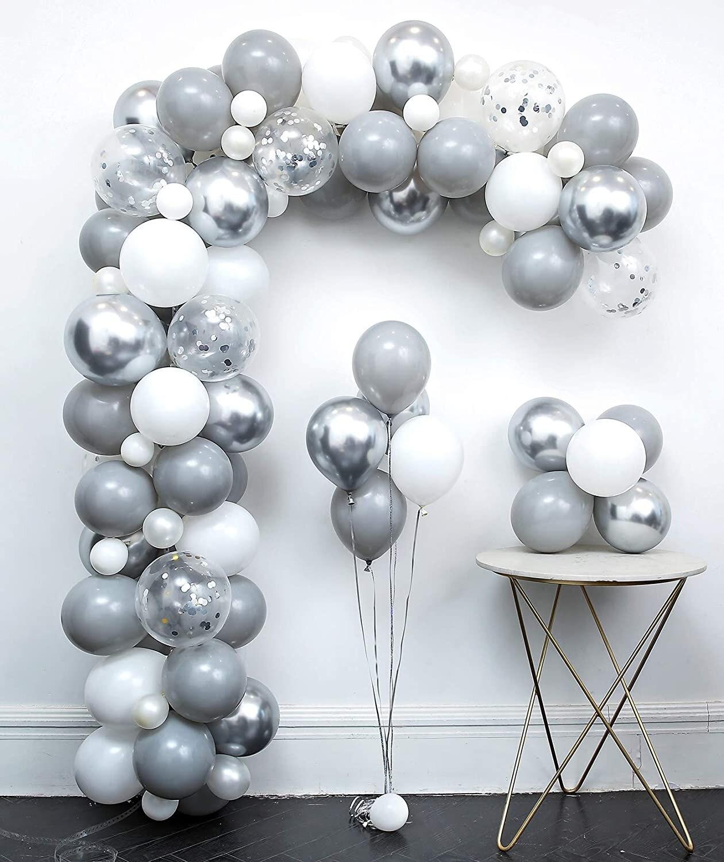 82pcs Pastel Gray White Balloon Garland Kit Metallic Silver Aluminium Foil Balloon Wedding Birthday Party Baby Shower Decoration
