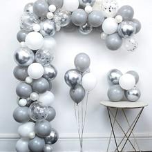 82 Uds Pastel gris globo blanco set de guirnaldas de plata metálica de aluminio globo de la boda cumpleaños fiesta bebé ducha Decoración