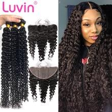 Luvin 28 30 дюймов 3 4 бразильские волосы плетение пряди с кружевной фронтальной застежкой Remy глубокая волна человеческие волосы водная волна дв...