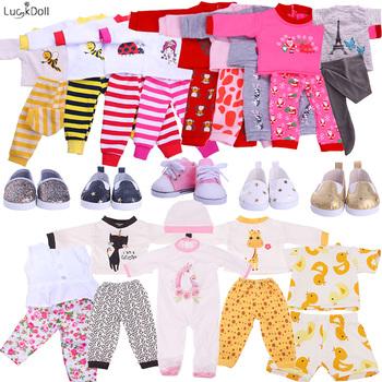 Promocja! 2 sztuk zestaw śliczne piżamy akcesoria dla lalek ubrania sukienka dla 18 Cal dziewczyna lalka i 43 cm noworodki laleczka bobas nasze pokolenie tanie i dobre opinie luckdoll Tkanina CN (pochodzenie) N949-N951 N944 M146-149 Unisex Moda 18 Inch Girl American Doll 43 cm Born Baby Doll