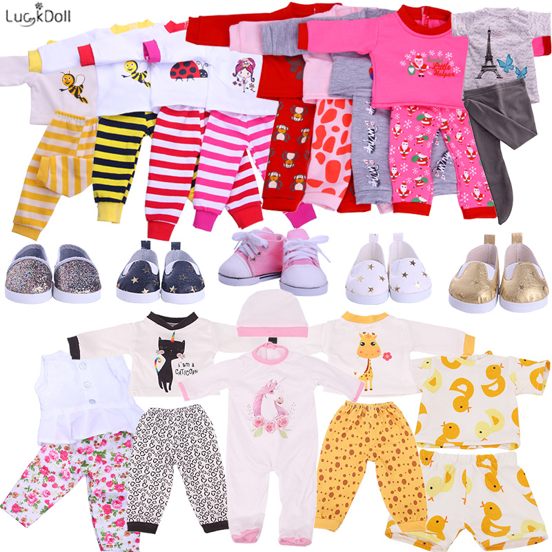 Promotio 2 Pcs Set Cute Pajamas Doll Accessories Clothes Dress For 18 Inch Girl Doll 43