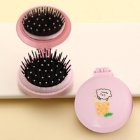 Mini Pocket Mirror Cute Massage Folding Mirror with Comb Portable Pocket Small Travel Girl Hair Brush with Mirror Styling Tools 6
