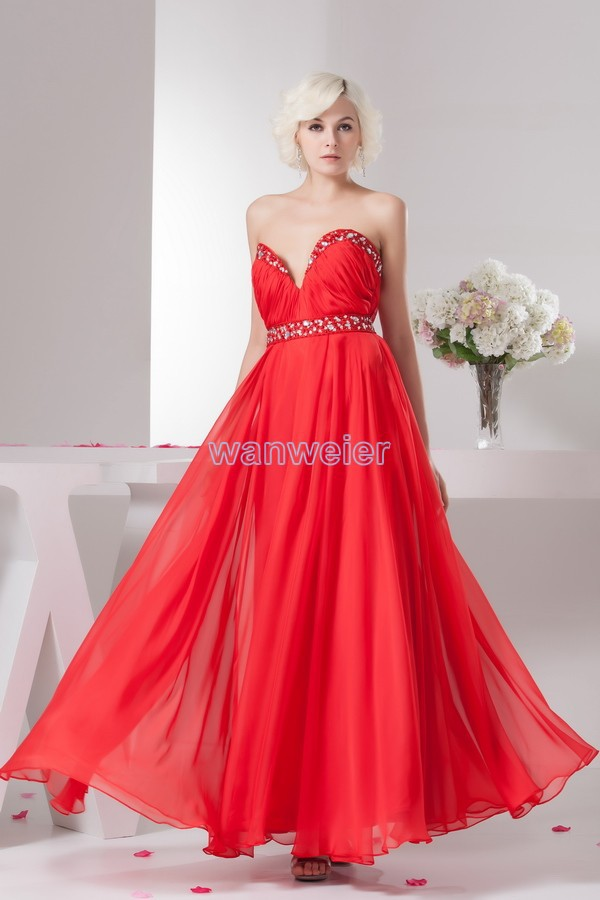 Free Shipping 2016 New Design Hot Seller Fashion Maternity Beading Crystal Custom Size/color Sexy Red Chiffon Bridesmaid Dress