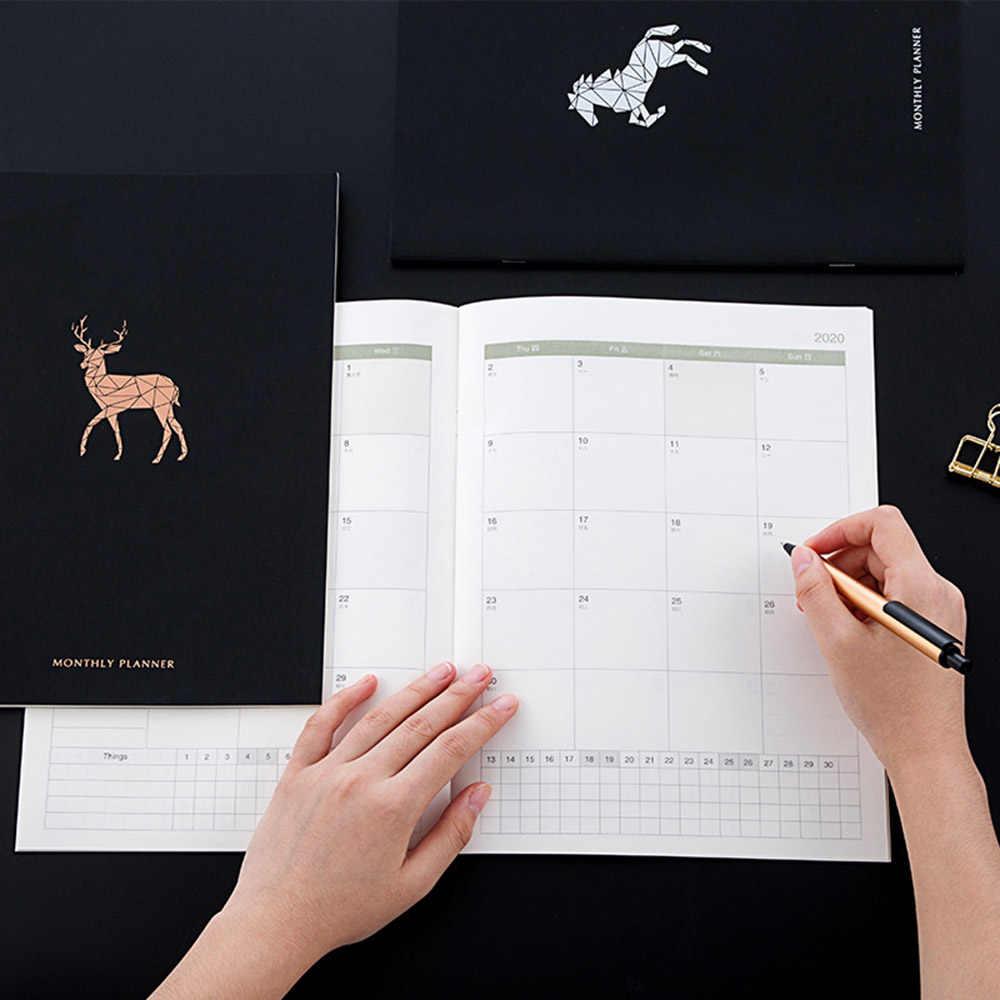 2020 planificador organizador Agenda A4 diario semanal diario mensual y diario Kawaii negro volver a la escuela nota libro manual de viaje