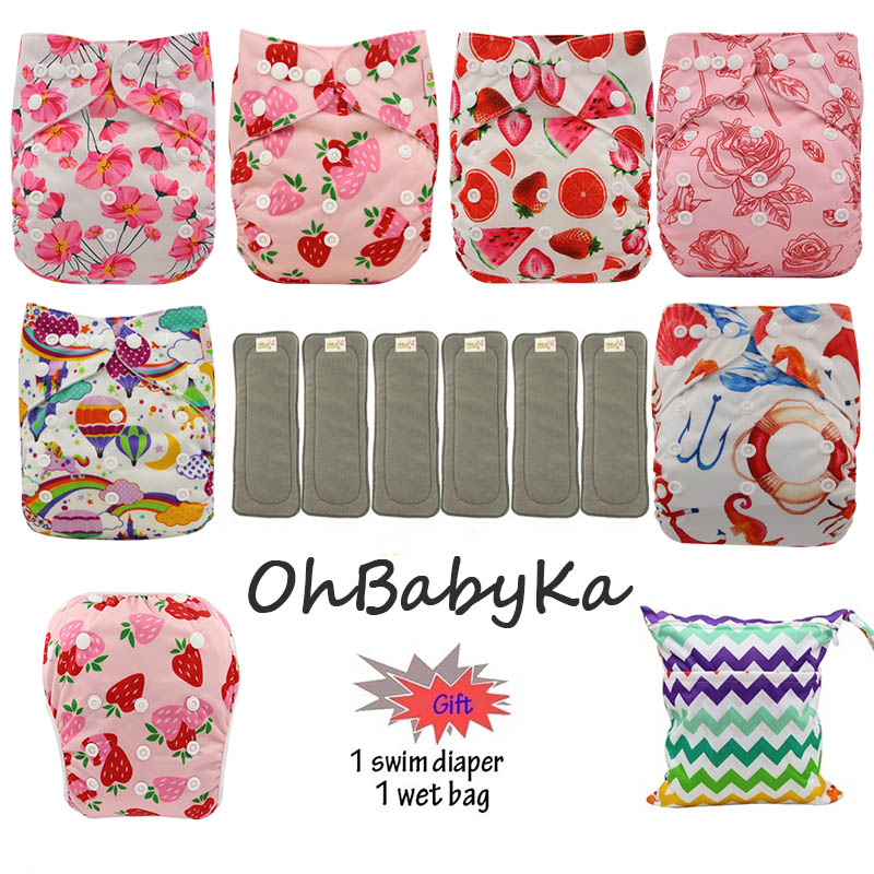 Image 4 - OhBabyKa Washable Baby Cloth Diaper Bamboo Charcoal Reusable All in two Pocket Diaper Adjustable+6pcs Bamboo Insert Baby Nappies-in Baby Nappies from Mother & Kids