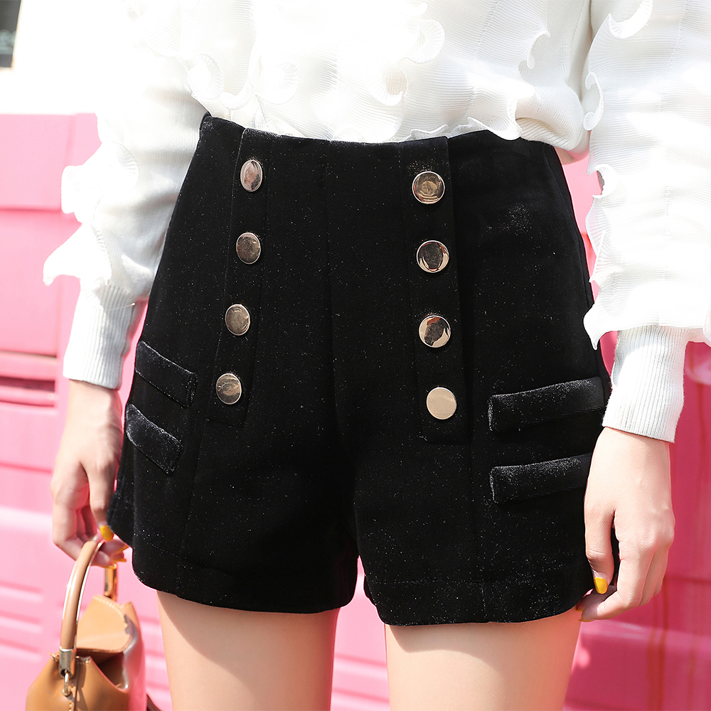 Fashion Korean Velvet Wool Straight Shorts Women 2019 Autumn Winter Short Pants Female Double Breasted High Waist Women Shorts