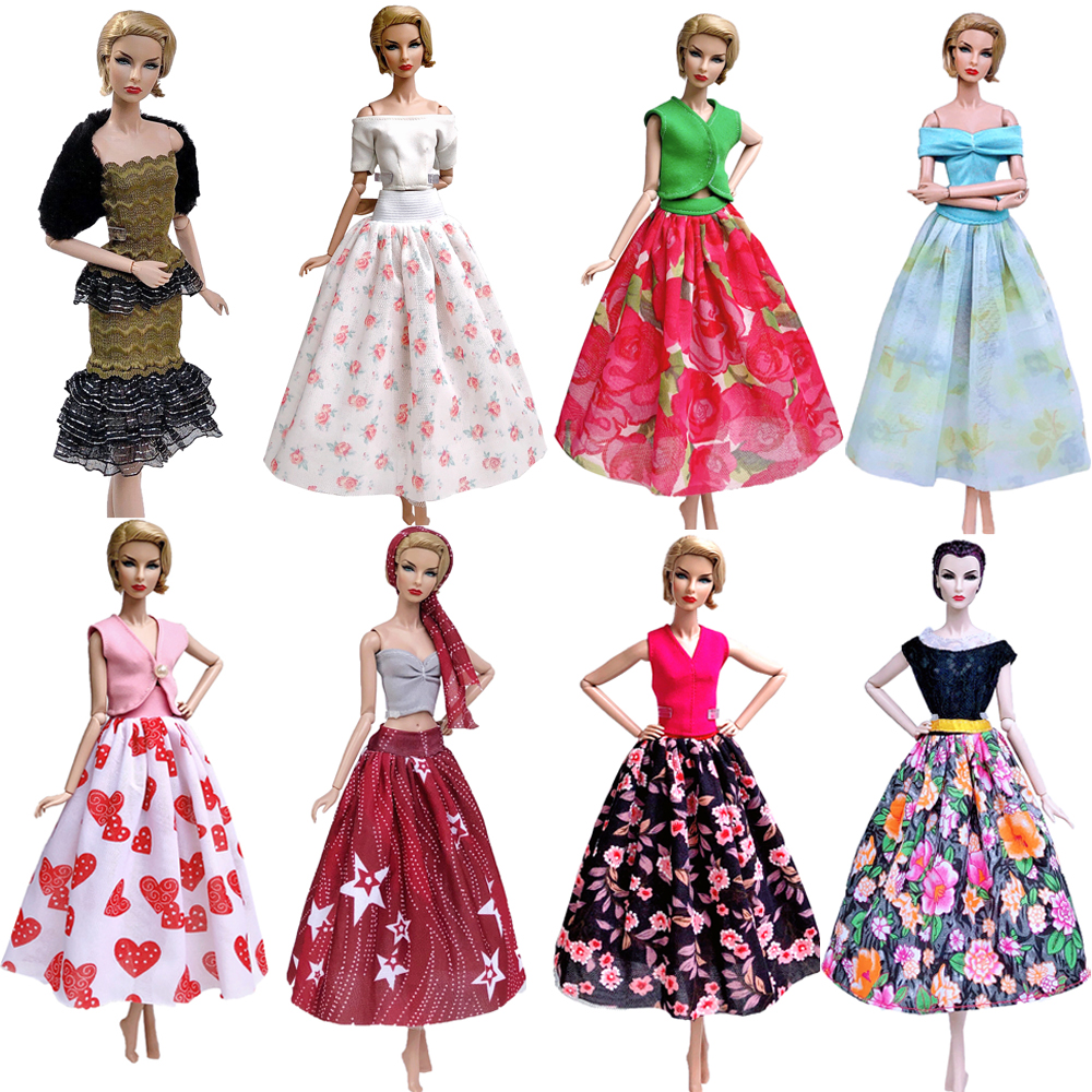 NK Mix Newest Doll Dress Handmade Super Model Clothes Fashion Skirt For Barbie Doll Accessories Child Toys Girl' Gift  JJ DZ