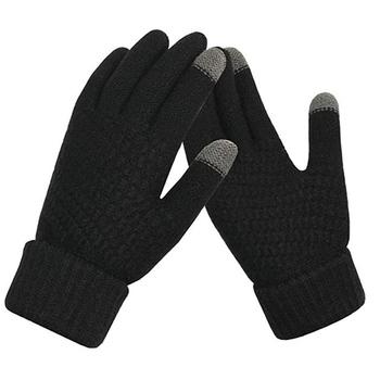 Zimowe ciepłe rękawiczki Outdoor Full mitenki męskie rękawiczki zagęścić ciepła wełna kaszmirowe solidne męskie rękawiczki biznesowe jesień tanie i dobre opinie CN (pochodzenie) COTTON Z palcami Uniwersalny Cycling Gloves Nadające się do prania knitting