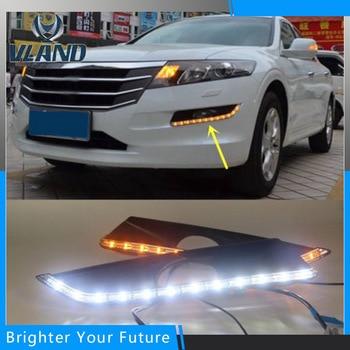 2Pcs White+Yellow  Lamp Daytime Running Light DRL for HONDA Crosstour 2011 2012 2013 auto daylight turn signal fog lamp