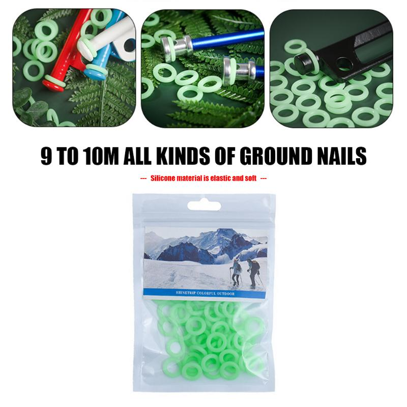 20/50pcs Nail Fluorescent Rings Multifunctional Silicone Tent Nail Luminous Ring For Outdoor Camping Tent Accessories