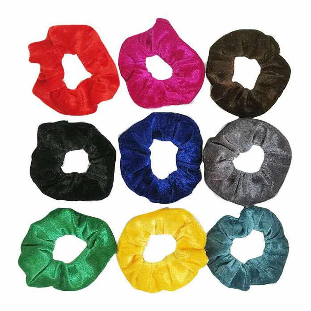 20 adet kadınlar kadife bayanlar saç kravat çok renkli bayan Scrunchie at kuyruğu çörek kavrama kadın saç halat