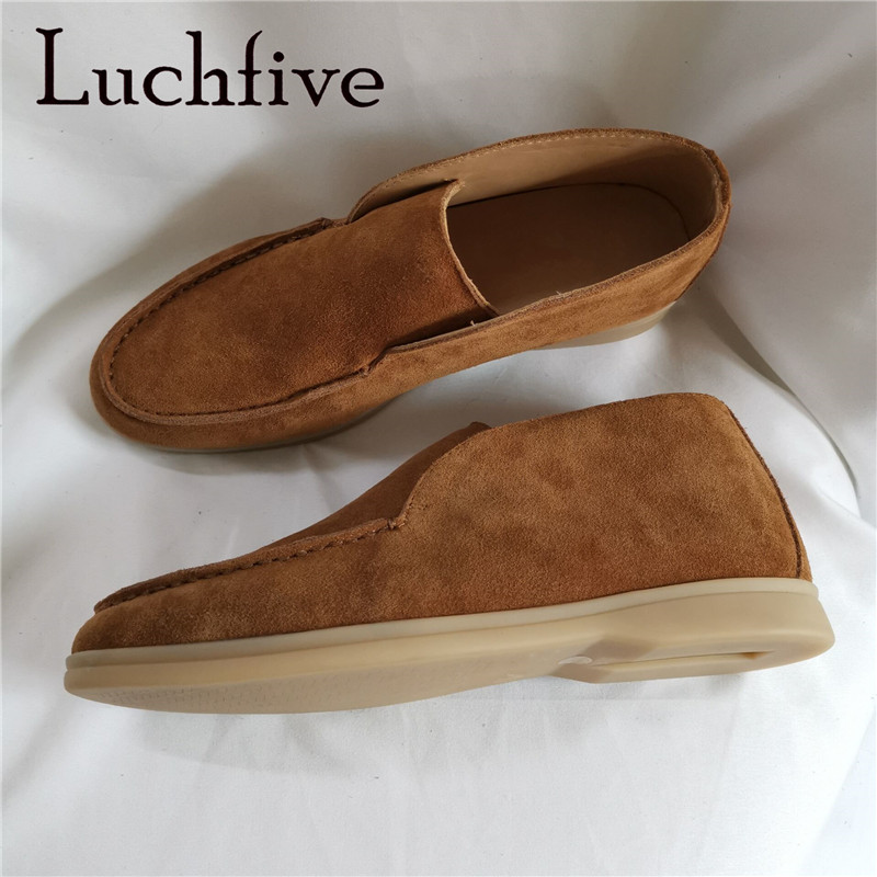 Kidsuede Leather High Top Loafers Slip On Open Walking Shoes Autumn Casual Shoes Men's Leisure Lazy Shoes