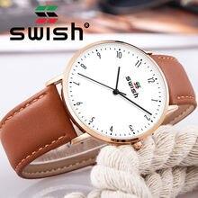Часы swish мужские с кожаным ремешком ультратонкие водонепроницаемые