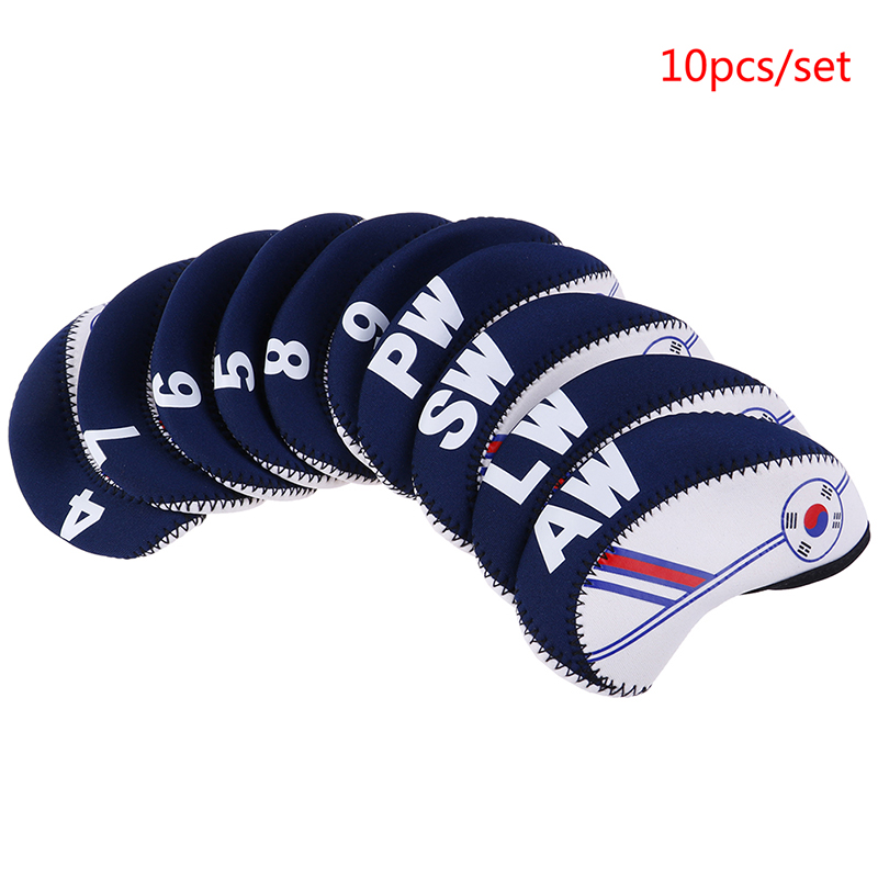 10PCS/Set Exquisite Golf Club Iron Head Covers Protector Golf Head Cover Sets Iron Club Head Cover Accessories
