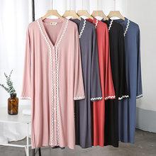 Camisón de algodón para mujer, ropa de dormir de manga larga por debajo de la rodilla, primavera y verano, novedad de 2021