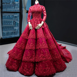 Image 1 - Muslim Wine Red Luxury Lace Wedding Dress Long Sleeve Beading Tiered Bridal Gowns 2020 Real Picture HA2340 Custom Made