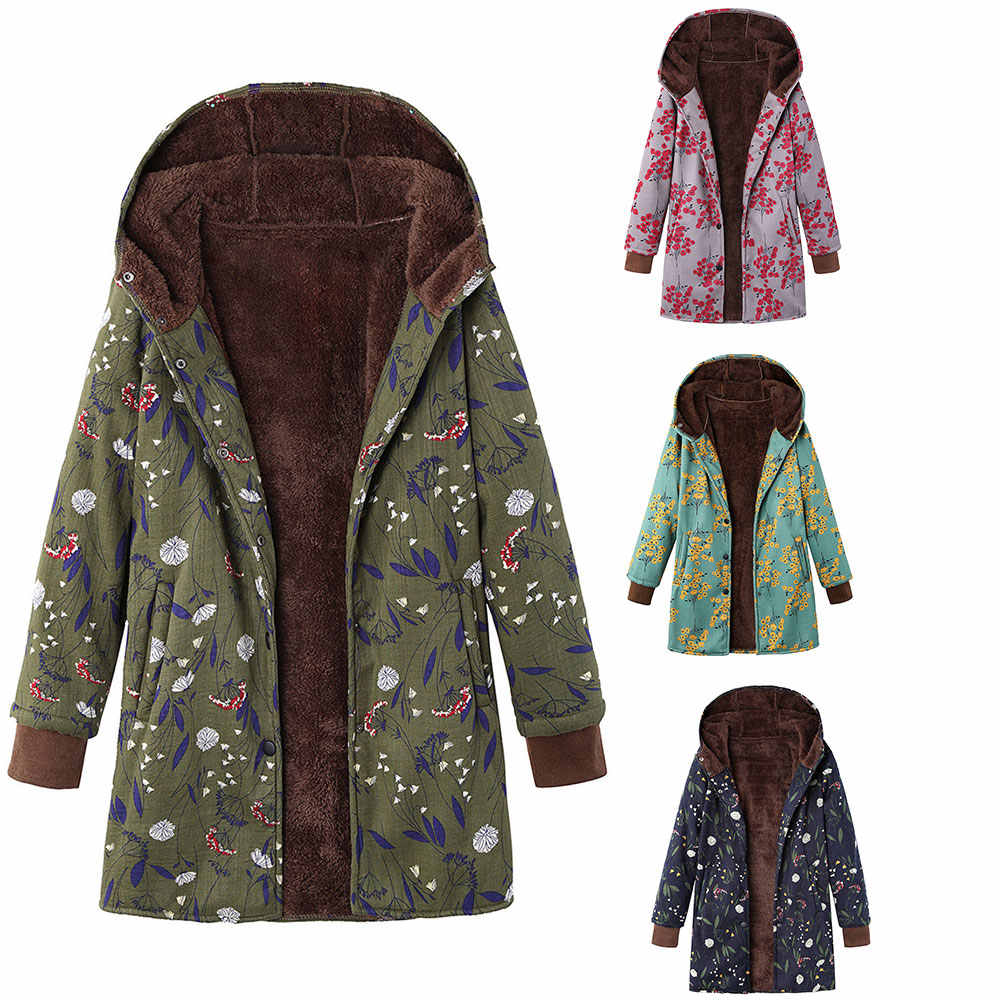 Wipalo Autumn Winter Plush Hoodie Coat 2019 New Women Cotton Parkas Floral Print Thick Warm Jacket Velvet Coat Outwear Plus Size