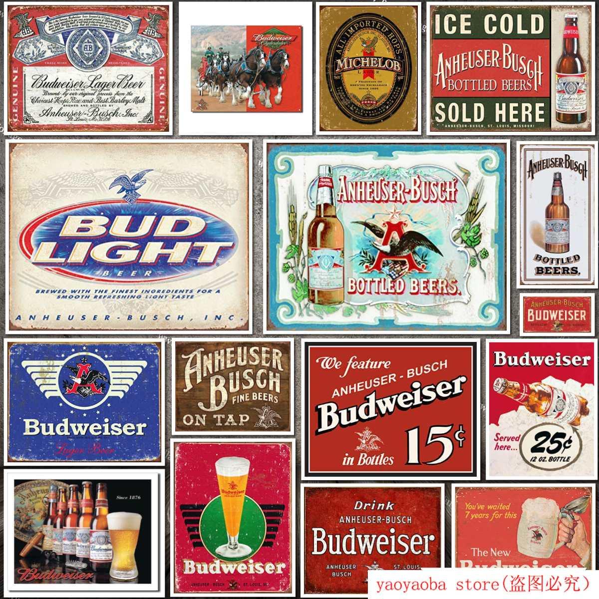 Desperate Enterprises Budweiser Historic Label Tin Sign Metal Painting Tin Sign Wall Decor Board Retro Pub & Bar Tin Poster