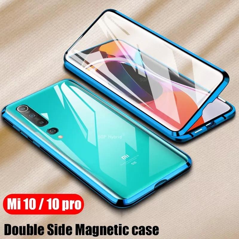 360 Full Protection Magnetic Case For Xiaomi Redmi Note 8 Pro 7 Metal Bumper Double Glass Cover For Mi Note 10 Mi 9 9T 8T funda