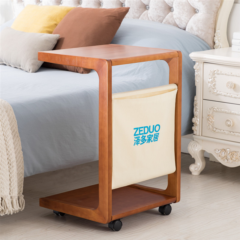 Side table movable small tea table with wheel simple Mini sofa small side table solid wood small table bedroom bedside table