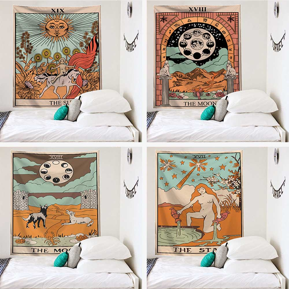 Blanket Tarot Tapestry Sun and Moon Pattern Tarot Indian Mandala Wall Hanging The Eight Trigrams Gypsy
