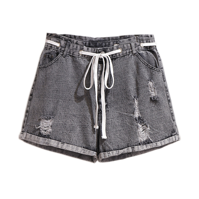 Women's Fashion Jeans Spring And Summer New Revers With Holes Denim Loose-Fit Slimming Lace-up Elastic Waist Wide-Leg Shorts
