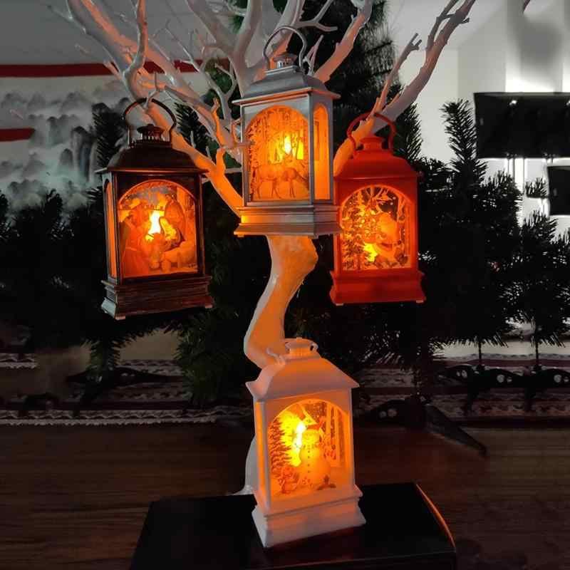 Portátil luz de la Navidad llevó Retro fiesta Ventana de suministros de árboles noche linterna regalo decorativo ornamento